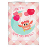 Cute Owl I love You To The Moon and Back Valentine Greeting Card