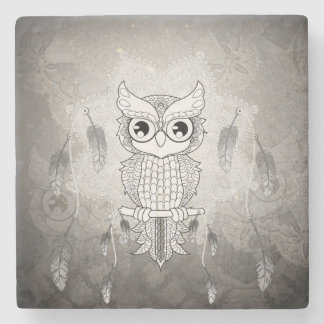 Cute owl in black and white, mandala design stone coaster