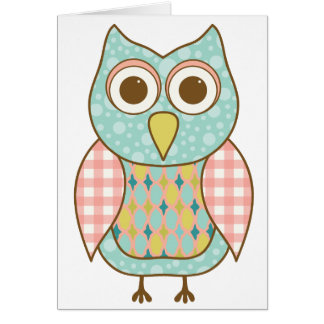 Cute Owl in Pink and Blue Card