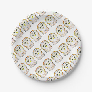 Cute Owl Ink Drawing Paper Plate