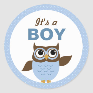 Cute Owl It s a boy Stickers Round Stickers