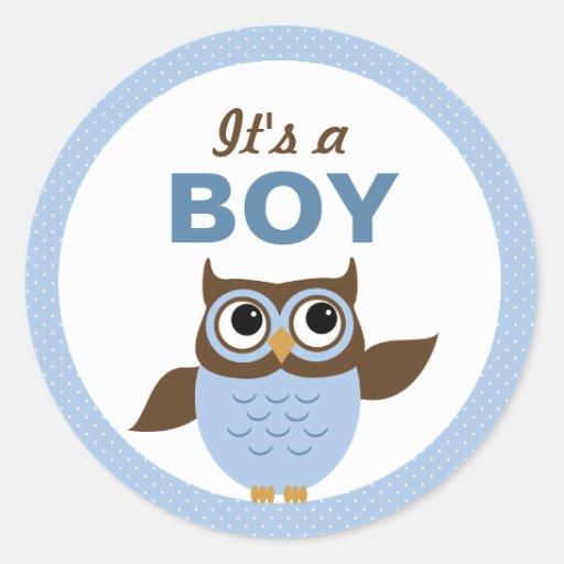 Cute Owl It's a boy Stickers Round Stickers