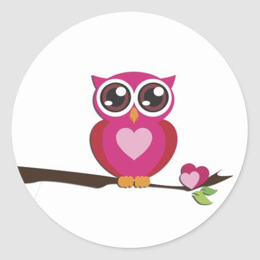 Cute Owl Love Hearts Round Stickers