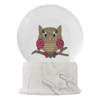 Cute Owl Love Snow Globe