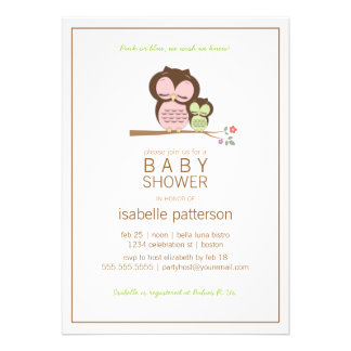 Cute Owl Mama Neutral Baby Shower Invitation