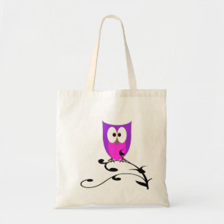 Cute Owl on a Branch Budget Tote Bag