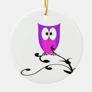 Cute Owl on a Branch Round Ceramic Decoration
