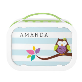 Cute OWL on a branch on a horizontal stripes Lunch Box