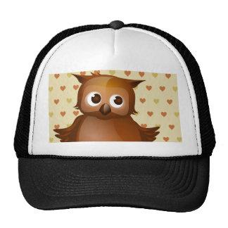 Cute Owl on Beige Heart Pattern Background Cap