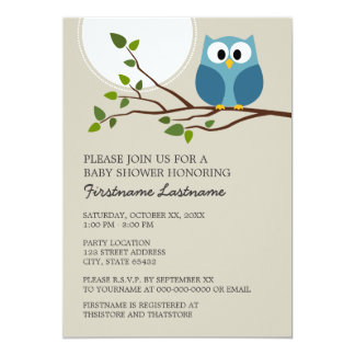 Cute Owl on Branch Baby Boy Shower 13 Cm X 18 Cm Invitation Card