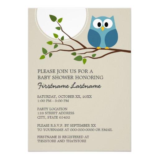 Cute Owl on Branch Baby Boy Shower Custom Invitations