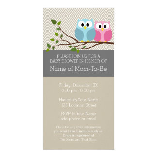 Cute Owl on Branch Baby Girl or Boy Shower Customised Photo Card