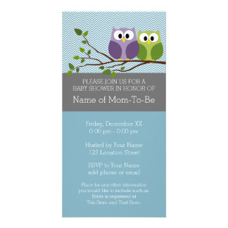 Cute Owl on Branch - Blue Baby Boy Shower Customized Photo Card