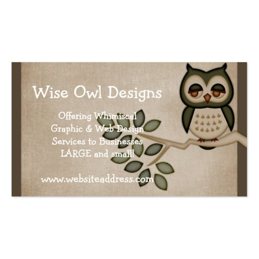 Cute owl on branch business card design zazzle for Owl business cards