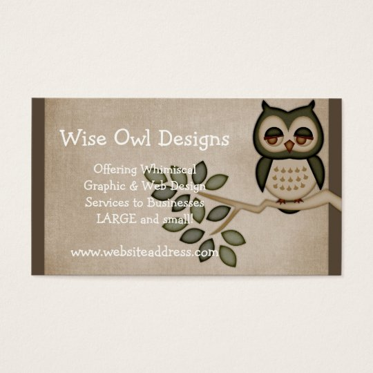 Cute owl on branch business card design zazzlecomau for Owl business cards