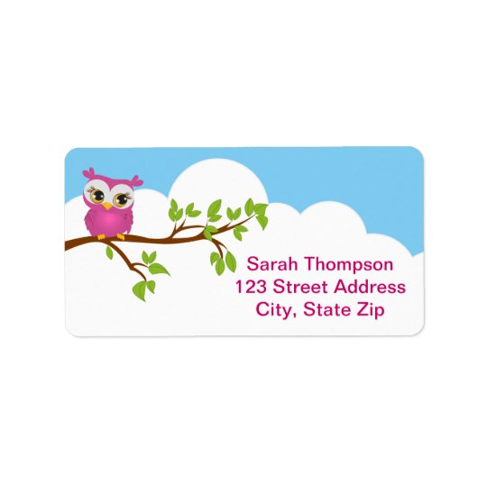 Cute Owl on Branch Girl Address Label