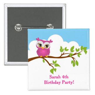 Cute Owl on Branch Girl Birthday Button Button