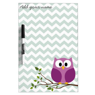 Cute Owl on Branch with Chevron Pattern and Name Dry Erase Board