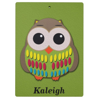 Cute Owl on Green Personalized Clipboard