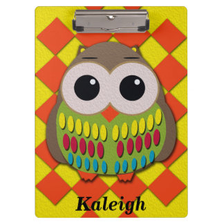 Cute Owl on Orange and Yellow Checkered Clipboard