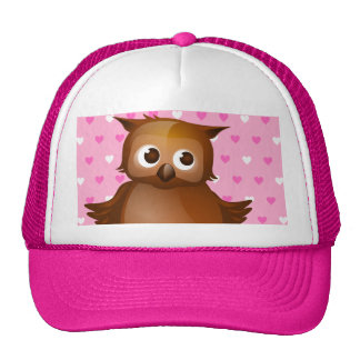 Cute Owl on Pink Heart Pattern Background Mesh Hat