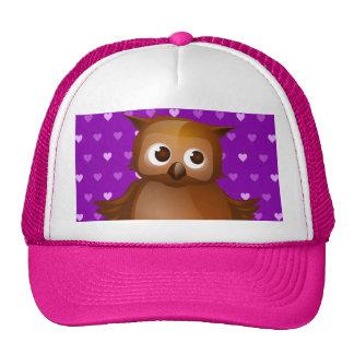 Cute Owl on Purple Heart Pattern Background Cap