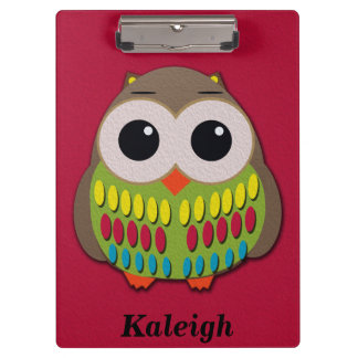Cute Owl on Red Personalized Clipboard