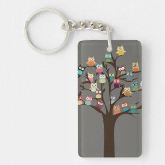 Cute Owl On Tree | Background Key Ring