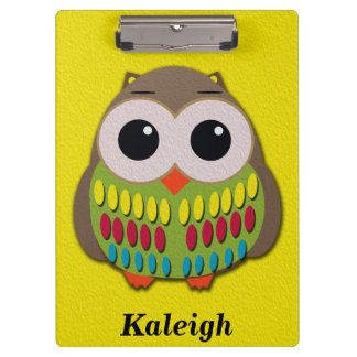 Cute Owl on Yellow Personalized Clipboard