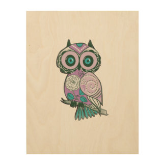 Cute Owl Painting on-Wood Canvas Wood Canvases
