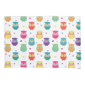 Cute Owl Pattern Kids Pretty Colorful Owls Pillowcase