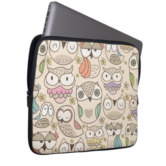 Cute owl pattern laptop sleeve