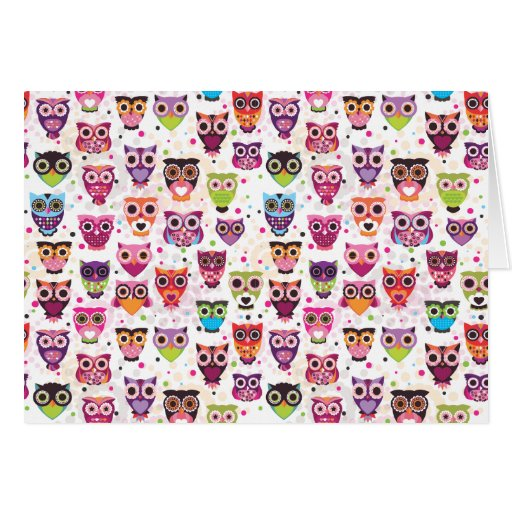 Cute owl pattern note card