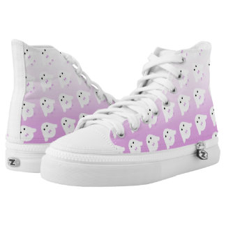 Cute owl pattern pastel pink white ombre high tops