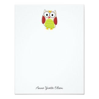 Cute Owl Personal Stationery 11 Cm X 14 Cm Invitation Card