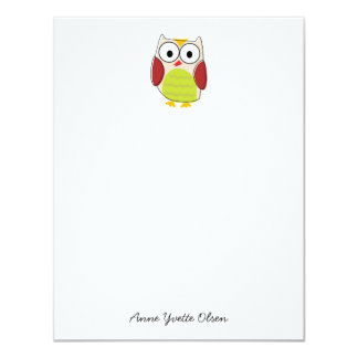 Cute Owl Personal Stationery 11 Cm X 14 Cm Invitation Card
