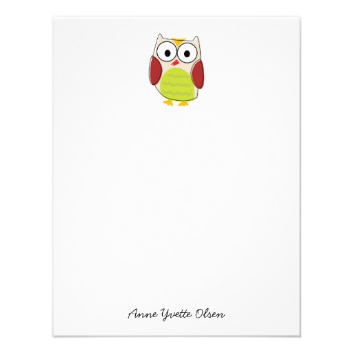 Cute Owl Personal Stationery Custom Announcements