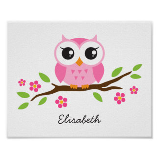 Cute owl personalized nursery wall art for girls poster