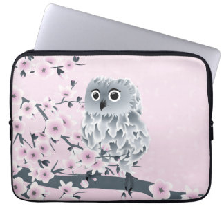 Cute Owl Pink Gray Computer Sleeves