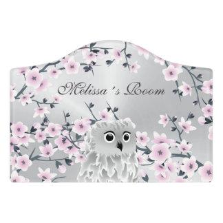 Cute Owl Pink Silver Door Sign