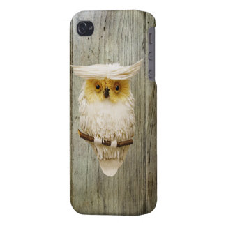 Cute Owl & Printed Wood Case For iPhone 4