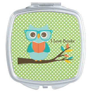 Cute Owl Reading Makeup Mirror