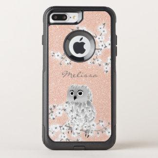 Cute Owl Rose Gold Bling Monogram OtterBox Commuter iPhone 8 Plus/7 Plus Case