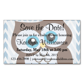 Cute Owl Save the Date Baby Shower Magnetic Card Magnetic Business Cards