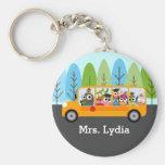 Cute Owl School Bus Driver Basic Round Button Key Ring