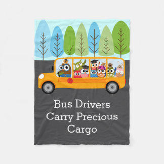 Cute Owl School Bus Driver Fleece Blanket