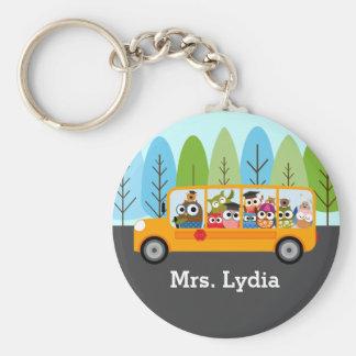 Cute Owl School Bus Driver Key Ring