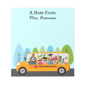 Cute Owl School Bus Driver Notepads