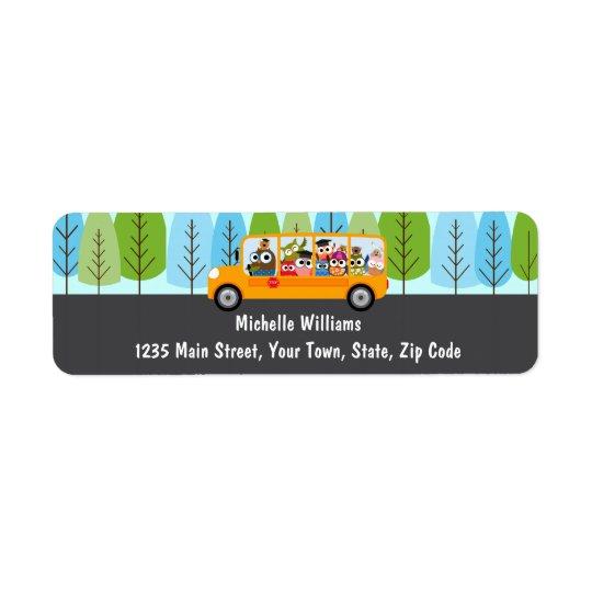 Cute Owl School Bus Driver Return Address Label