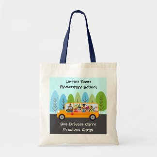 Cute Owl School Bus Driver Tote Bag
